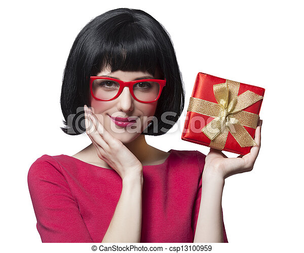 girl in dress with present box at white background. - csp13100959