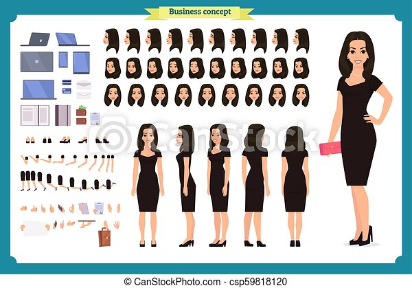 Girl In Evening Dress Character Creation Set Party Woman In Black