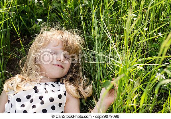 girl in grass - csp29079098