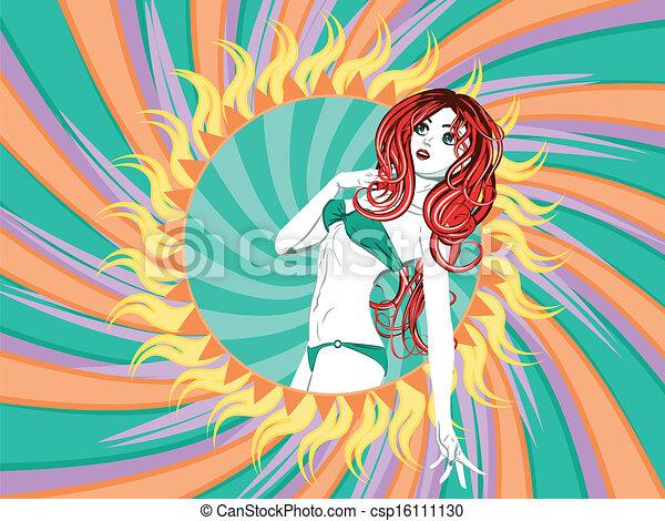 Girl in green bikini with red hair - csp16111130