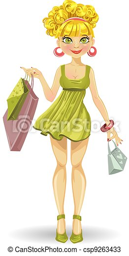 girl in green with shopping bags  - csp9263433
