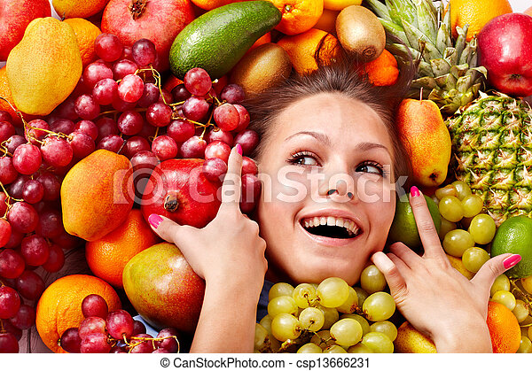 Girl in group of fruit. - csp13666231