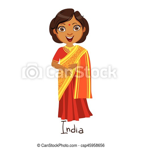 Girl in india country national clothes wearing sari dress traditional for the nation. kid in indian costume representing nationality cute vector ...  sc 1 st  Can Stock Photo & Girl in india country national clothes wearing sari dress ...