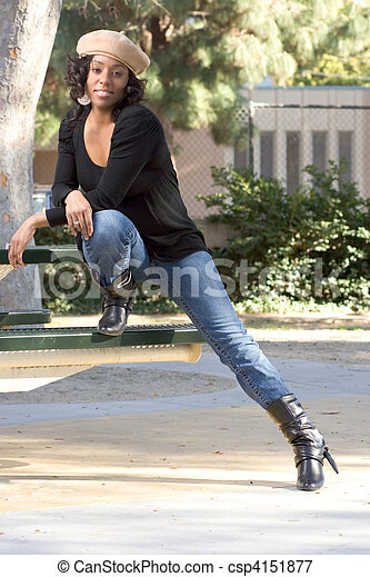 girl in jeans and boots - csp4151877