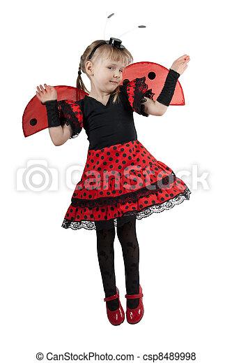 Girl in ladybug costume on white background - csp8489998