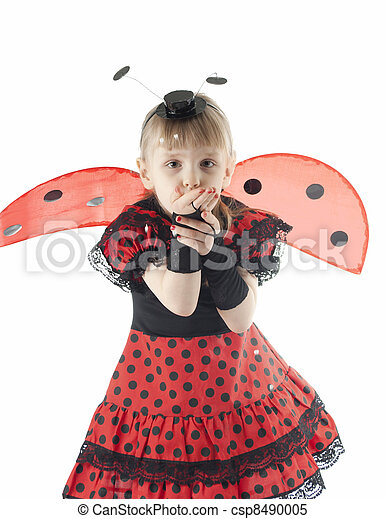Girl in ladybug costume on white background - csp8490005