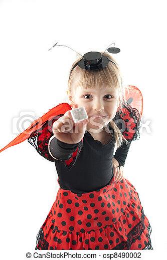 Girl in ladybug costume on white background - csp8490002