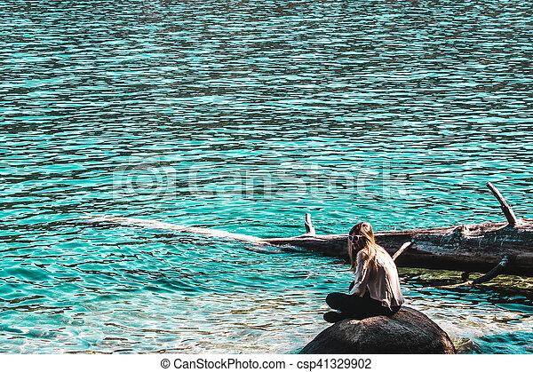 Girl in Lake Tahoe, California - csp41329902