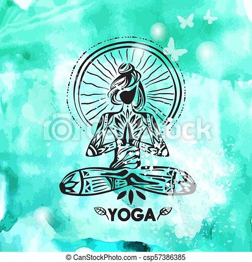 Girl In Lotus Yoga Pose On Watercolor Background Silhouette Of A Girl In Lotus Yoga Pose On Watercolor Background