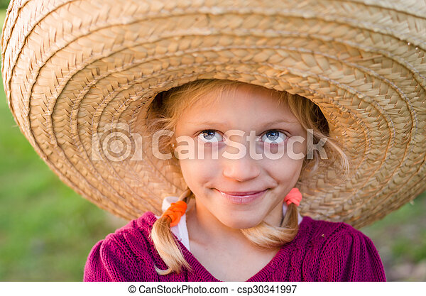 girl in Mexican hat - csp30341997