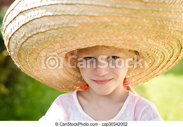 girl in Mexican hat - csp30342002