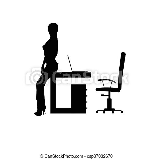 girl in office silhouette illustration - csp37032670