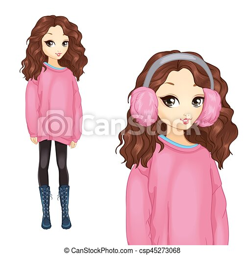 Girl In Oversize Pink Sweater - csp45273068