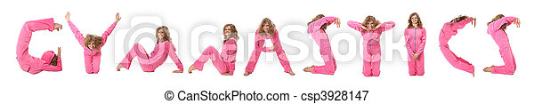 Girl in pink clothes  making word GYMNASTICS, collage - csp3928147