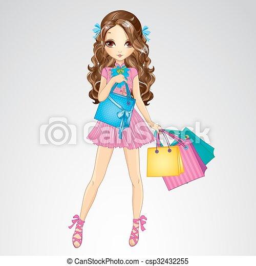 Girl In Pink Dress Do Shopping - csp32432255