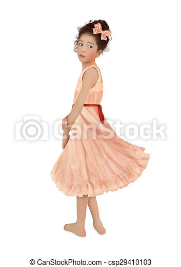 fe4b3be6dbce Girl in pink dress. Little girl with bow in her hair, in pink ...