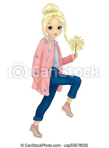 Girl In Pink Fur Holds Sparkler - csp55678035
