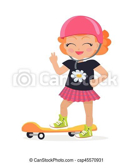 Girl in Pink Helmet and Skirt. Orange Skateboard - csp45570931