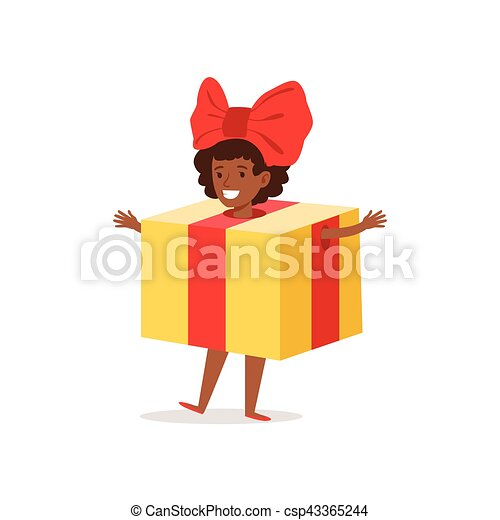 Christmas Carnival Theme Outfit.Girl In Present Outfit Dressed As Winter Holidays Symbol For The Costume Christmas Carnival Party