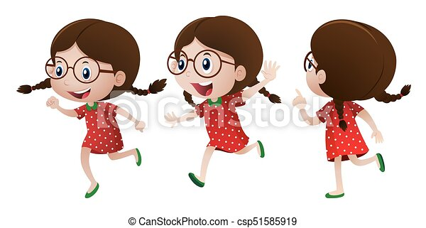 Girl in red dress with happy face - csp51585919