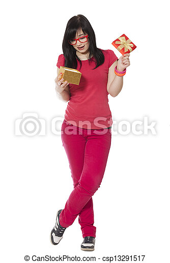 girl in red with present box at white background. - csp13291517