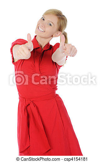 girl in red with thumb up - csp4154181