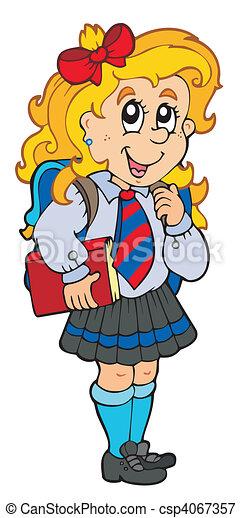 Girl in school uniform - csp4067357