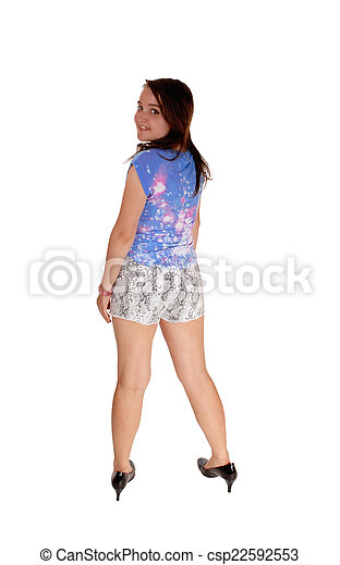 ab9f30b44 Girl in shorts from the back. A young teenager girl in shorts ...