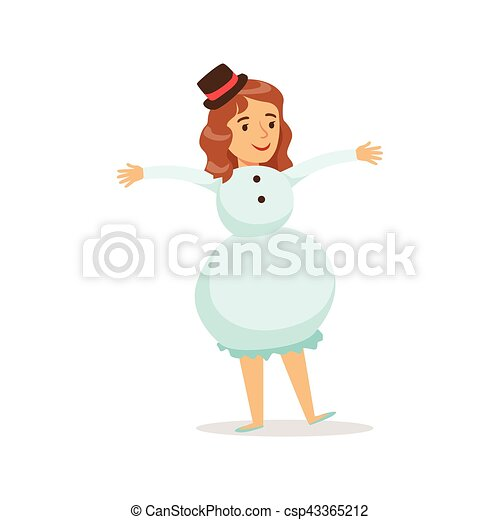 Christmas Carnival Theme Outfit.Girl In Snowman Outfit Dressed As Winter Holidays Symbol For The Costume Christmas Carnival Party