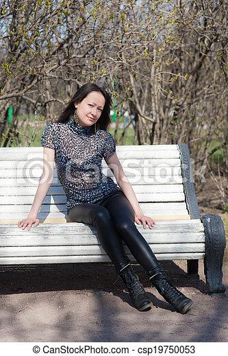 girl in spring park - csp19750053