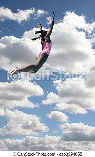 Girl in Swimsuit Diving In Sky - csp0394055