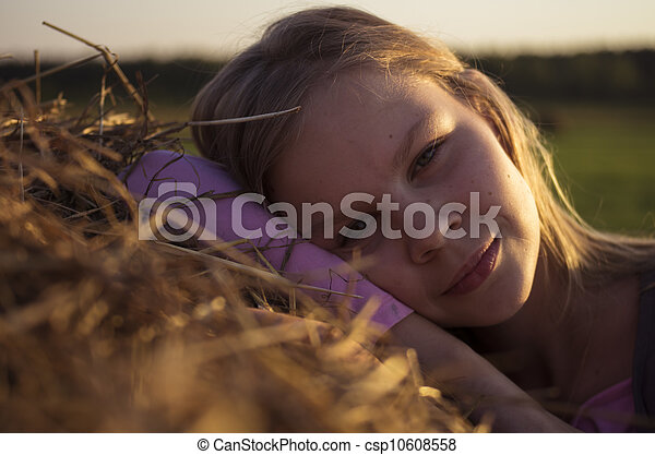 Girl in the field - csp10608558