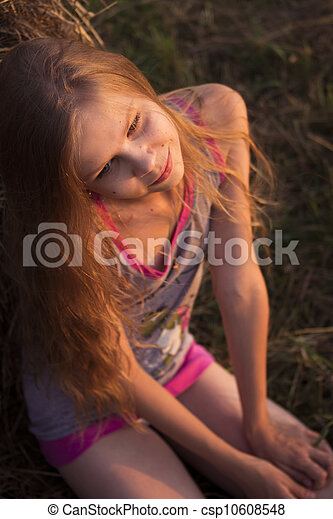 Girl in the field - csp10608548