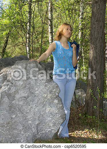 Girl in the forest - csp6520595