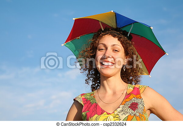 girl in the many-colored umbrella - csp2332624