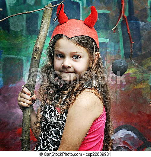 girl in the role of a daemon on Halloween - csp22809931