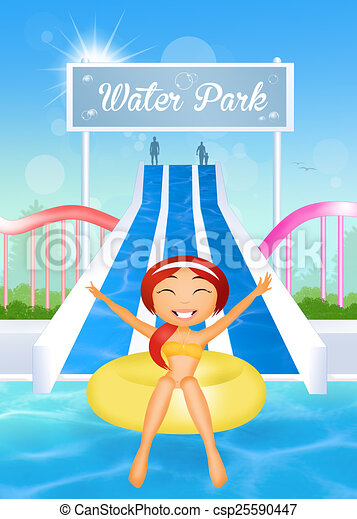 illustration of girl in water park rh canstockphoto com water park clipart images aqua park clipart