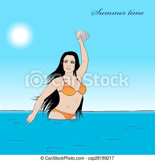 Girl in water - csp28189217