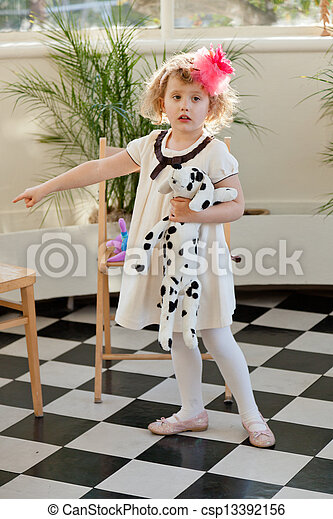 Girl in white dress - csp13392156