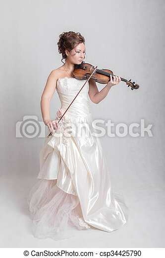 girl in white dress - csp34425790