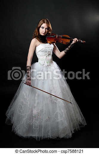 Girl in white dress with violin - csp7588121