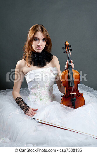 Girl in white dress with violin - csp7588135