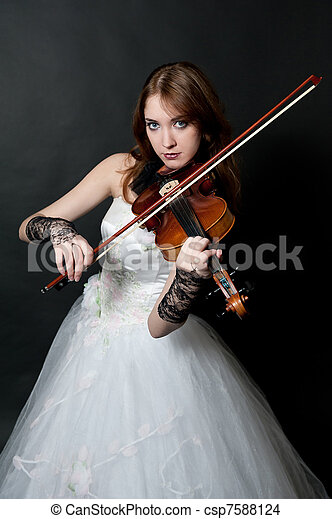 Girl in white dress with violin - csp7588124