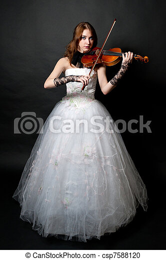 Girl in white dress with violin - csp7588120