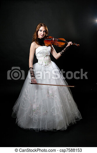 Girl in white dress with violin - csp7588153