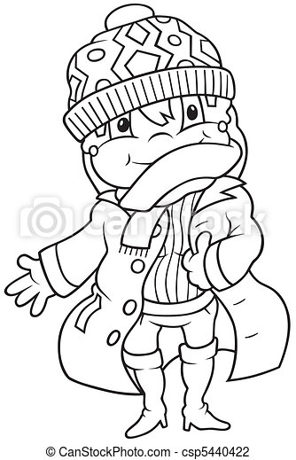 Girl In Winter Dress Black And White Cartoon Illustration Vector