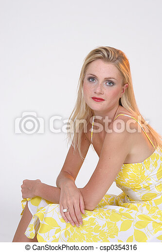 Girl in yellow skirt - csp0354316