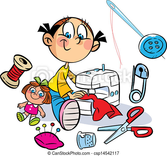 girl is sewing clothes the illustration shows a little girl rh canstockphoto com sewing clip art printables sewing clip art free downloads microsoft