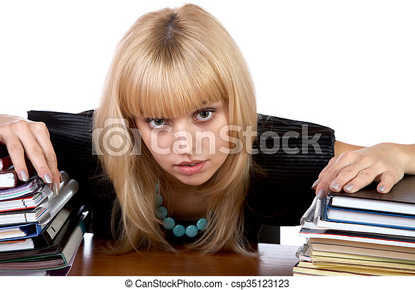 girl, isolé, deux, tas, writing-books - csp35123123