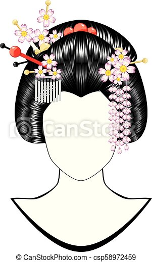 Girl Japonaise Coiffure Hairstyle Cheveux Noirs Fille